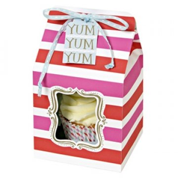 Meri Meri Pink and Red Stripe Cake Cupcake Gift Treat Gift Box - Individual/single x4