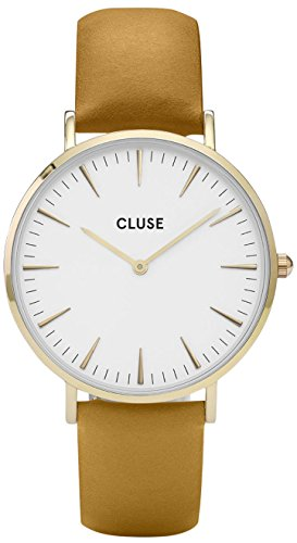 Cluse Unisex Erwachsene Digital Quarz Uhr mit Leder Armband CL18419