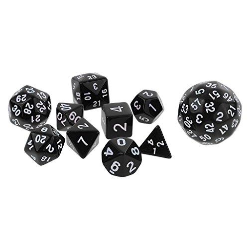cryl Polyhedral Dice Würfel Satz Requisiten für Tischspiele, Dungeons und Drachen, MTG RPG Spiel - Schwarz ()
