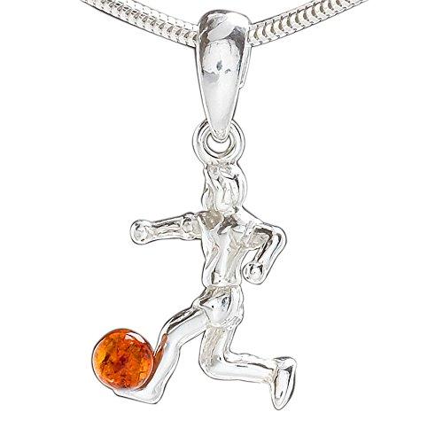 in Fußball-Schmuck Halskette aus echtem 925er Silber, Fußballspieler Anhänger Halskette Silberkette #1975 (40cm) ()