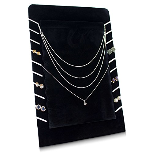 Grinscard - Kettenständer für 10 Halsketten Organizer für Schmuck Aufbewahrung & Präsentation - Samt Schwarz - 35 x 23 cm (Schmuck Ständer Halter)