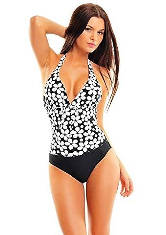 Femmes Push Up Halter Swimsuit / Conçu par Octopus avec effet WOW! Ventre plat / 1080 f5330 1039 Noir / blanc motif floral, taille 52