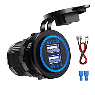 CHGeek Dual USB Socket Charger, Dual 5V/4.2A USB Car Charger IP66 Waterproof Power Outlet for 12V/24V Car, boats and marine, motorcycle, truck, SUV, UTV - Blue
