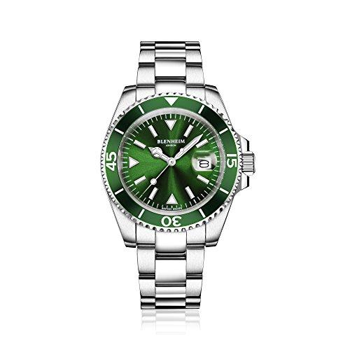 Blenheim-London-Navigator-Leuchtendes-Saphirglas-Grn-Zifferblatt-Armbanduhr
