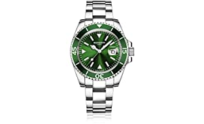 Blenheim London® Navigator Luminous Sapphire Glass Mens Watch (Green)