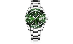 Blenheim London® Navigator Luminous Sapphire Glass Mens Watch (Green)