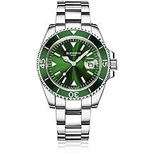 Blenheim London® Navigator Leuchtendes Saphirglas Grün Zifferblatt Armbanduhr