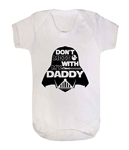 "Disfraz de Jedi para bebé con texto en inglés""Don't Mess with my Daddy Star Wars"" (6-12 meses, color blanco)"