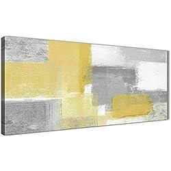 Amarillo mostaza gris salón accesorios de cuadros en lienzo–abstracto 1367–120cm impresión Wallfillers