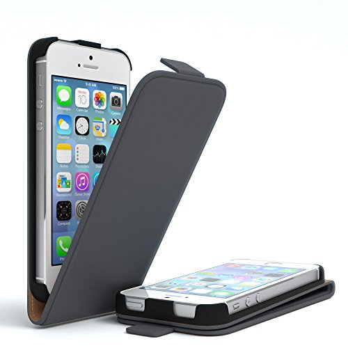 Apple iPhone SE / 5S / 5, EAZY CASE Premium Flip Case Handyhülle Schutzhülle als Klapphülle, Wallet Cover, Etui, Smartphone Tasche in Hellgrau Anthrazit