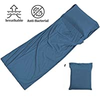 Ploopy Over Size Single Silk Soft Sleeping Bag Liner - Lightweight Camping Sleep Bag Prevent Dirty On Business Hotel (W:105 x L:230 cm; Magic Blue)