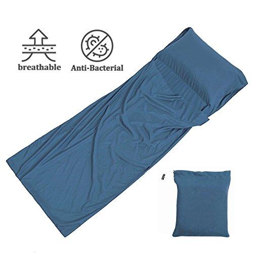 Ploopy Sac De Couchage Doublure, Microfibres Sac De Couchage Idéal Pour Auberges Refuges Voyage Hôtel Camping (W:105 x L:230 cm; Magic Bleu)