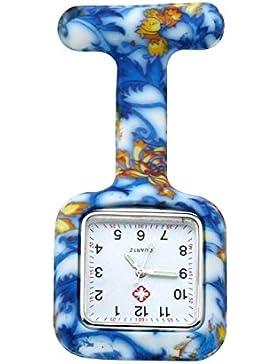 JSDDE Uhren,Krankenschwester Nurses FOB-Uhr Silikon Tunika Brosche Taschenuhren,Quadrat,Blau-Gelb Blumen