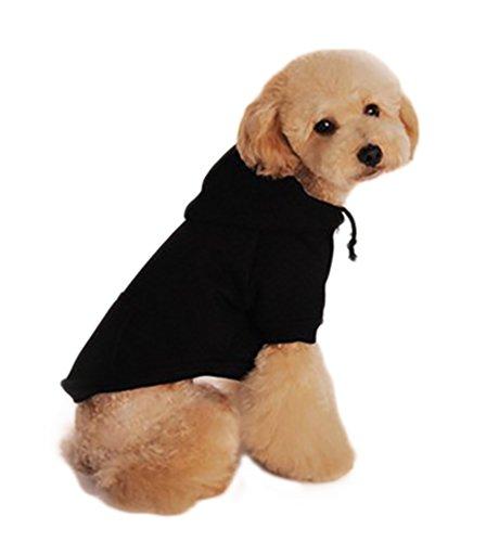 YiJee Pet Hundemantel-Jacke Hunde Pullover Feste Farbe für Klein und Mittelunter Schwarz (Schwarzer Kostüm Mops)