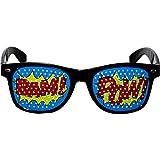 Amakando Accesorios para Disfraz Pop-Art con Gafas, moño y Tirantes / Talla Única / Accesorios Coloridos para Adultos Estilo caricaturas / Ideal para Carnaval y Festivales