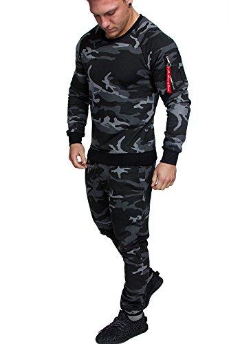 Amaci&Sons Herren Cargo Stil Sportanzug Jogginganzug Trainingsanzug Sporthose+Pullover 1004 Camouflage Schwarz XL