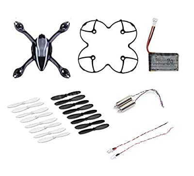 AFUNTA Hubsan X4 H107L Quadcopter Spare Parts Crash Pack (One Body Shell + One Protection Cover + 4 Spare Blades Set + One Spare 240mah Battery + 2 Led Light + 2 Motors)