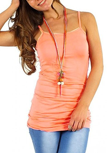 Easy Young Fashion Damen Spaghetti Top lang / Minikleid One Size Apricot