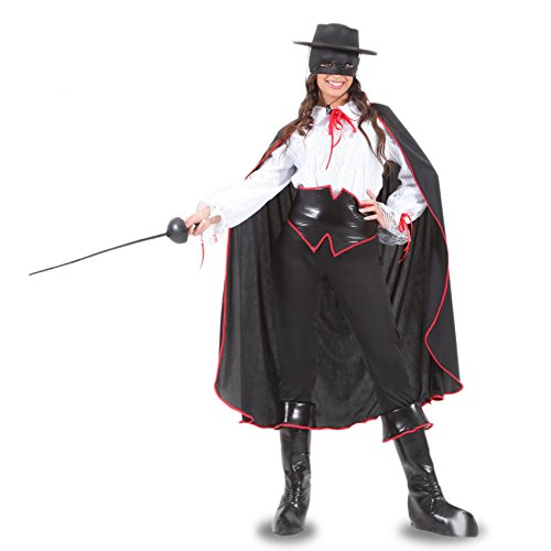 Vestito costume maschera di carnevale adulti vendicatrice zorro - taglia l - 48/50 donna