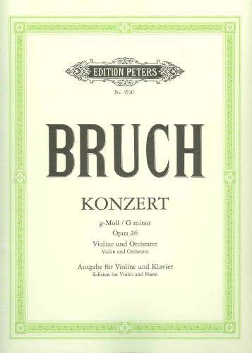 EDITION PETERS BRUCH MAX - CONCERTO NO.1 IN G MINOR OP.26 - VIOLIN AND PIANO Classical sheets Violin por Max Bruch