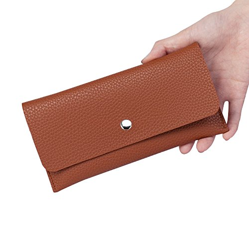 """JINYJIA, borsa in pelle mini, borsa per piccoli messaggi, portafogli donna, porta carte tasca con cerniera, 7.5 """"x 3.7"""", nero Giallo"""