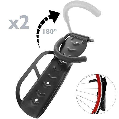 PrimeMatik - Wandhaken zum Aufhängen Fahrrad-Rad einstellbar 2 Einheiten