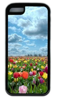 Beautiful Tulips Garden DIY PC Black iphone 5C Case Perfect By Custom (Tulip Garden Light)