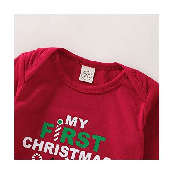 BBSMLIN Disfraces Navidad Niñas Letra de Estampado Mameluco + Dibujos Animados Falda Ropa de Conjunto 5