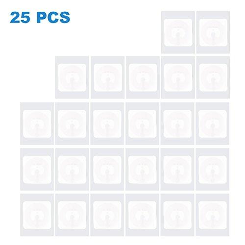 NFC Tag Sticker (25 Stück) Selbstklebend vom Typ NXP NTAG 215 Mit 504 Byte Speicher | 25mm Durchmesser | Beschreibbar | Funktioniert Mit Allen Android Smartphone NFC Apps / Aufkleber Von TimesKey