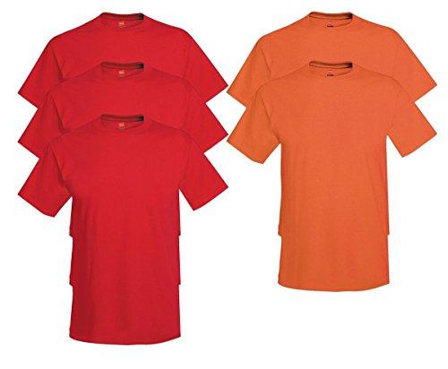 Hanes Men's Tagless Comfortsoft Crewneck T-shirt (Pack of 5) 3 Deep Red / 2 Orange