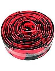niceeshop(TM) Manillar de la bicicleta de la cinta Cinta Wrap / bar con barra de enchufes, Negro y Rojo camuflaje