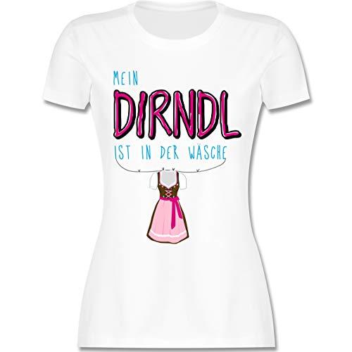 Mein Dirndl ist in der Wäsche - S - Weiß - L191 - Damen Tshirt und Frauen T-Shirt ()