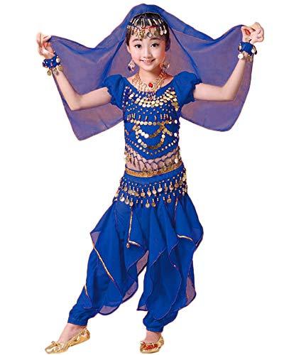 Indien Mädchen Kostüm - Lishui Kinder Mädchen Bauchtanz Outfit Kostüm Indien Dance Kleidung Saphirblau 2XL 145-155CM