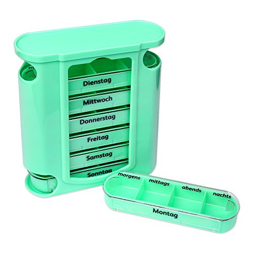 S/O® Tablettenbox grün mit grünen Schiebern 7 Tage Pillen Tabletten Box Schachtel Tablettendose Pillendose Pillenbox Tablettenboxen Pillendosen Pillen Dose Wochendosierer