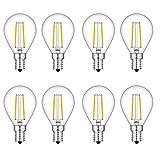 TAMAYKIM 2W Dimmbar Antik Edison Stil Kugel Glühfaden LED Lampe , 2700K Warmweiß 200 Lumen, 25W Entspricht Glühlampe, E14 G45 Fassung, 360° Abstrahlwinkel, 8er-Pack
