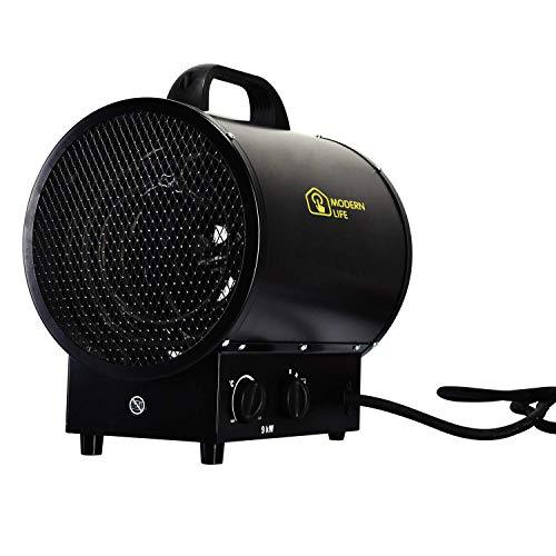 Heizlüfter Elektroheizgebläse Heißluftgenerator Industrial Fan Heater (max. 9 kW, stufenloses Thermostat, Standgerät, Tragegriff) Schwarz