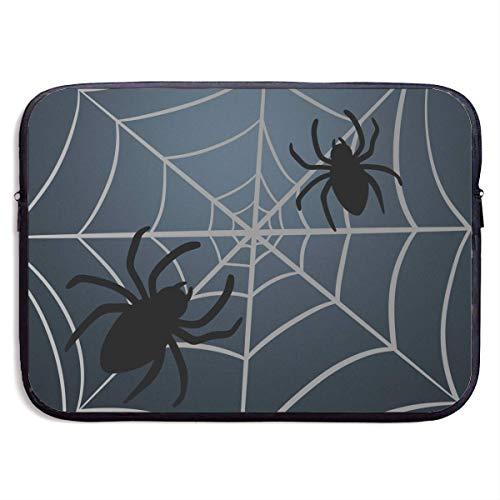 Benutzerdefinierte Laptop-Hülle 13/15 Zoll Notebook Reißverschluss Aktentasche Halloween Spider Web Print tragbare Umhängetasche, 13 Zoll