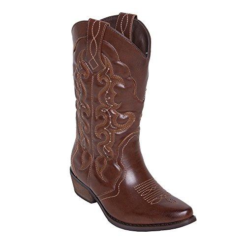 SheSole Damen Western Cowboystiefel Spitz Zehen Halbhohe Stiefel Braun 38