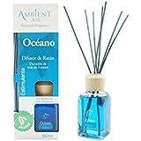 Ambientair Mikado Ambientador para Hogar, Aroma Océano, Cristal, Azul, 8 x 8 x 24 cm