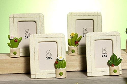 12 pz bomboniera comunione cresima matrimonio portafoto cactus/vaso, 10,5 cm,in resina, by paben