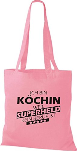 Shirtstown Sac en tissu Ich bin Cook, parce que Superheld aucun Occupation est rose rose