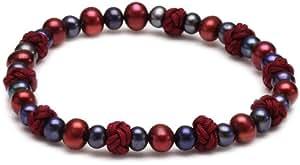 Sakura Pearl AM 134 High Gloss Black Oval Freshwater Pearl Bracelet