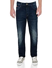Lee Cooper Harry Work Straight Leg Denim Jeans Dark Wash Blue