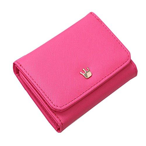 Borsa mini borsa magica del supporto della carta del raccoglitore di cuoio mini (maglia blu) Rosa scuro