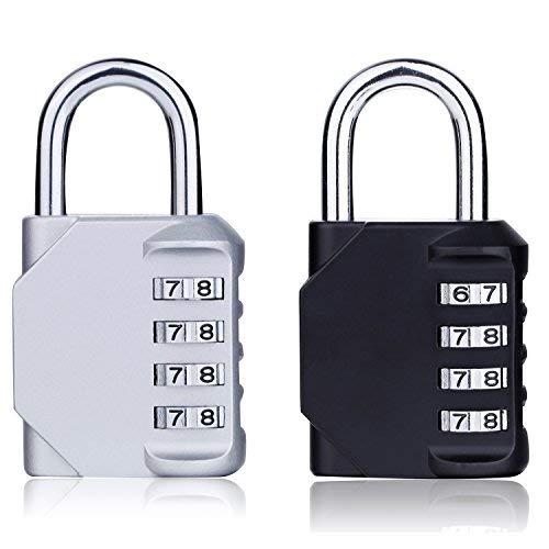 2 Pack de combinación de candado, Shovan 4 dígitos combinación de bloqueo para la escuela Gimnasio Locker, bolsa de deporte, equipaje, mochila bolsa, armarios, caja de herramientas, maleta y almacenamiento al aire libre (negro y plata)