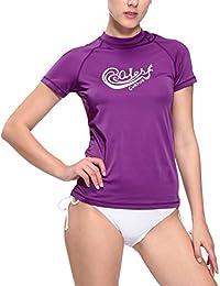 Baleaf 1320806–Bañador de mujer Surf UV Sol Protección manga corta camiseta deportiva de UPF 50+
