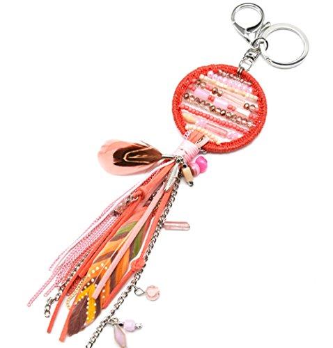 PT1027D-Porta-chiavi, gioiello da borsetta Acchiappa-sogni Dreamcatcher bordo lucido con perle, con frange, in feltro e piume, modo fantasia etnica, colore: corallo
