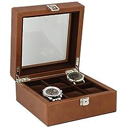 Braun aus echtem Leder Armbanduhr Sammler Box für 6Handgelenk Uhren von aevitas