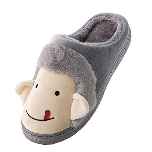 Dessin animé singe coton pantoufles à domicile-Unisexe hiver chaud peluche chaussures bootie Gris
