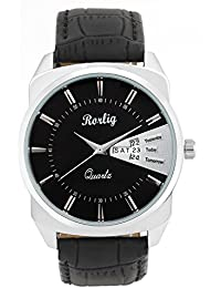 Trendy Latest Fashionable Black Leather Belt Watch, Round Black Dial Analog Watch For Men's / Boys Casual / Formal...